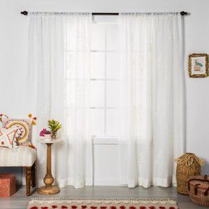 Embroidered Floral Sheer Curtain Panel White